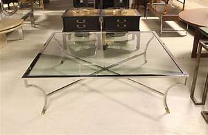 Oversized 54quot square chrome and brass hoof mid century for Oversized modern coffee table