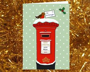 christmas card unique illustration of red post box With christmas letter box