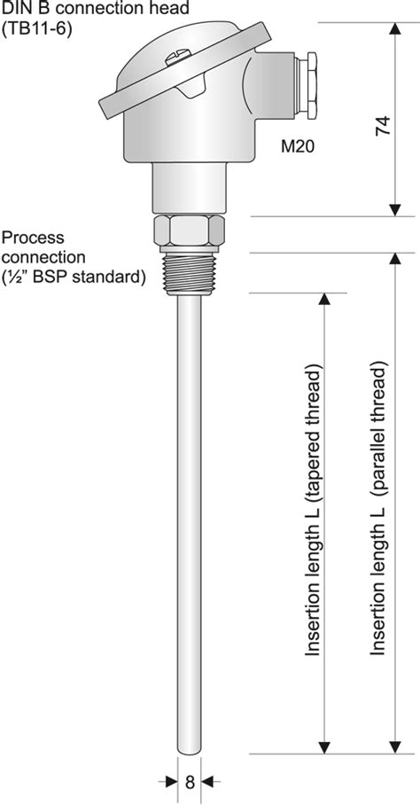 SI7 Straight Pt100 probe with process connector without