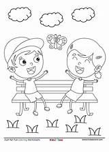 Coloring Park Cartoon Fun Sheet Bench Worksheet Chatting Garden Pdf Kidzezone sketch template