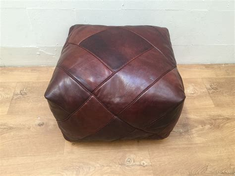 Real Leather Ottoman - genuine leather moroccan pouf ottoman whiskey brown