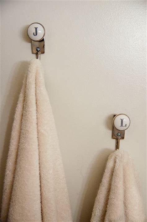 initials towel hooks eclectic bathroom  york