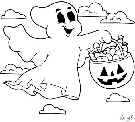 dessin de fantome a imprimer coloriage un fant 244 me avec une citrouille remplie de friandises dory fr coloriages