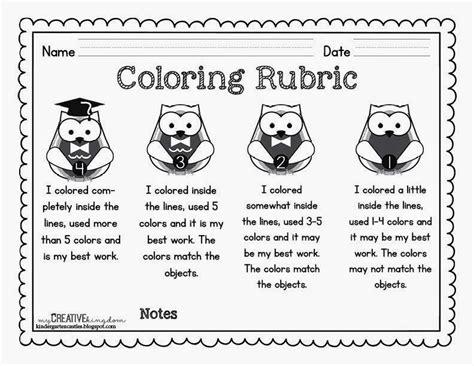 Coloring Rubric by Kindergarten Rubrics Free Coloring Rubric
