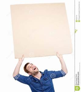 Man Holding Blank Poster Sign Up Stock Images - Image ...