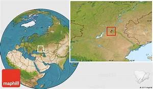 Satellite Location Map of Volgograd