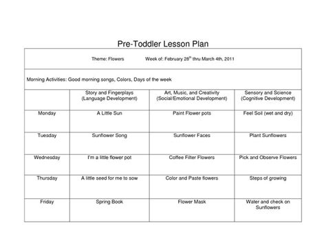 creative curriculum blank lesson plan wcc pre toddler