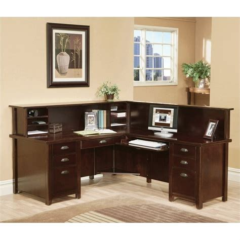 l shaped executive desk with hutch kathy ireland home by martin tribeca loft cherry rhf l