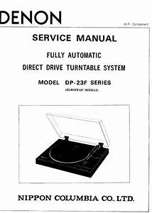 Denon Dp 23f Turntable System Service Manual Free Download