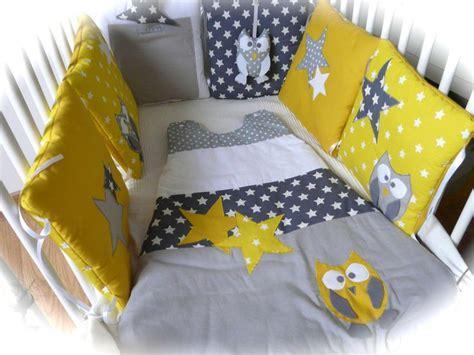 tour de lit chouettes et 233 toiles jaune et gris b 233 b 233