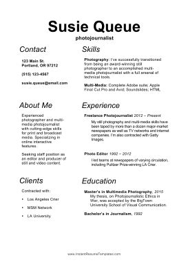 photojournalist resume a4 template