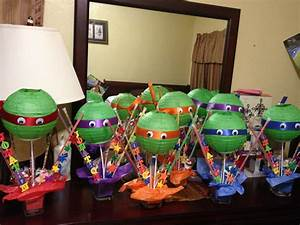 DIY centerpieces for Ninja Turtle Party | Birthday parties ...