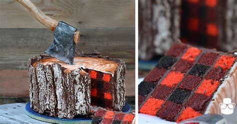 lumberjack cake   edible axe   plaid pattern
