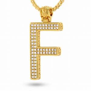 14k gold letter quotfquot necklace gold initial pendant With gold initial letters