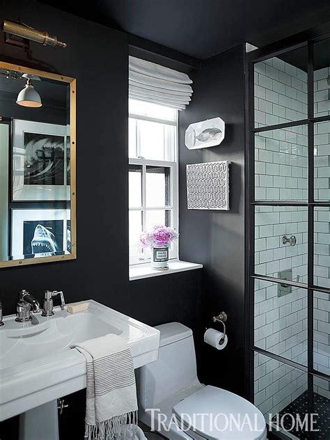 beautiful black  white bathrooms traditional home