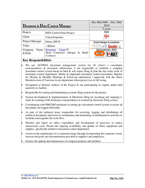 Document Controller Resumes by Cv S Atif Masroor Document Manager Specialist