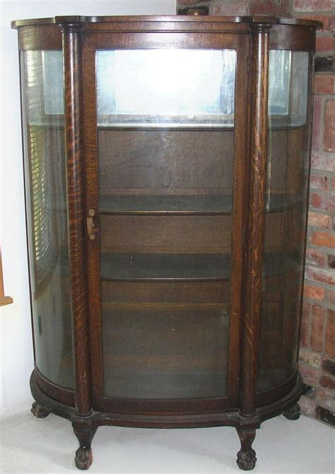 antique china hutch value antique bow front oak china cabinet claw curved glass