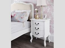Shabby Chic White 3 Drawer Bedside Table Bedroom