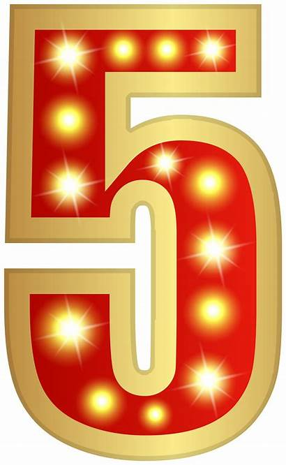 Number Glowing Clipart Five Numbers Transparent Decorative