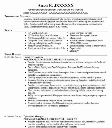 Forestry Resume Templates by Forestry Resume Exles In Carolina Livecareer