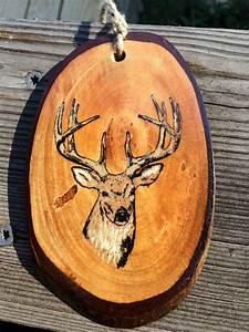Painted, Deer, Rustic, Wood, Slice, Ornaments, Deer, Rustic, Decor