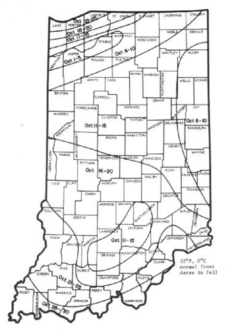 Frost Depth Map Indiana