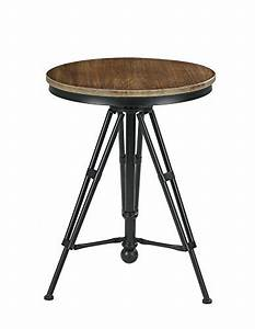 Vilavita 30quot to 34quot adjustable height swivel round wood for 34 inch round coffee table