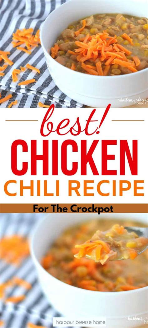 Top your bowl of white chicken chili with crushed tortilla chips for a satisfying crunch. White Chicken Chili Recipe for Slow Cooker