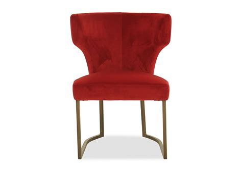 wingback velvet dining chair  red mathis brothers