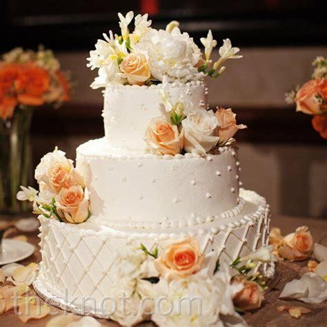 Peach Floral Wedding Cake