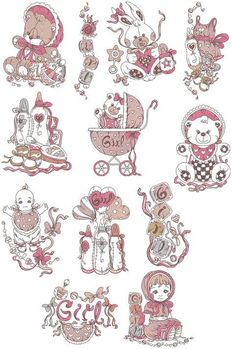 baby girl stuff collection machine embroidery designs  sew swell