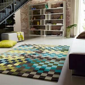 tapis pixel moderne bleu et vert esprit home 200x300 With tapis vert et bleu