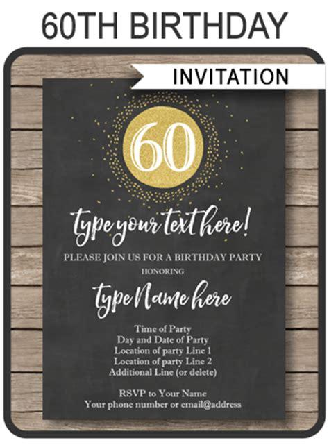 birthday chalkboard template chalkboard 60th birthday invitations template editable printable diy