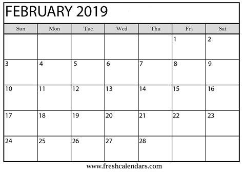 Calendar Template 2019 February 2019 Printable Calendars Fresh Calendars