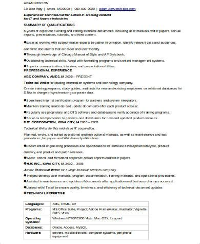 Technical Author Resume by Technical Writer Resume Exles