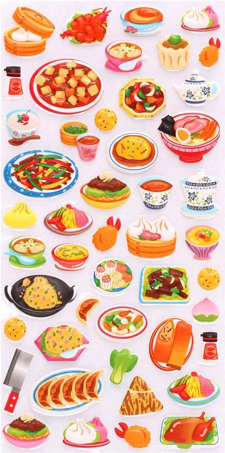 stickers vitres cuisine japanese and food 3d sponge sticker book set by