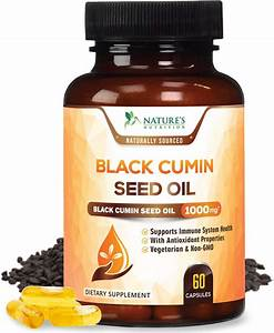 Nature U0026 39 S Nutrition Black Seed Oil Capsules Nigella Sativa Black Cumin   1000 Mg  60 Capsules