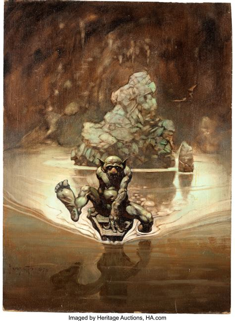 frank frazetta gollum painting original art