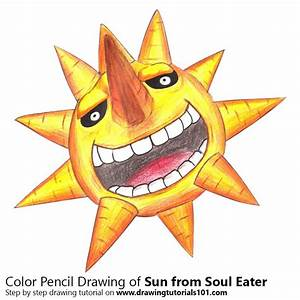 Sun from Soul Eater Colored Pencils - Drawing Sun from ...