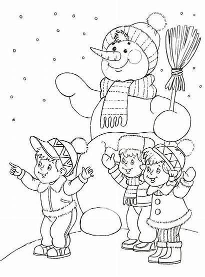 Winter Coloring Pages Kleurplaat Kleurplaten Snowman Christmas