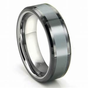 Tungsten carbide grey meteorite inlay wedding band ring for Tungsten wedding band ring