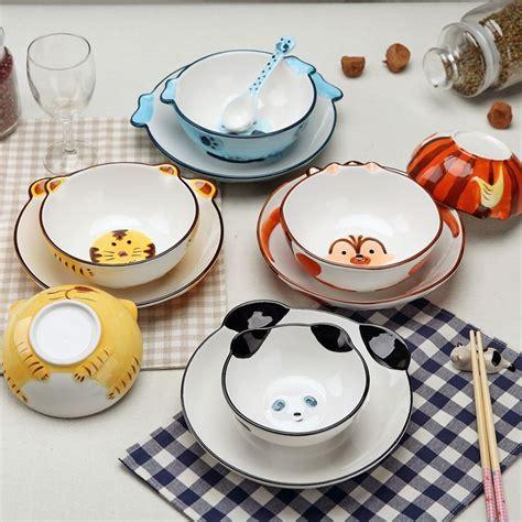 dinnerware ceramic cute bowl sets children cartoon animal handmade plate creative tableware porcelain christmas bowls colorful lot 4pcs rice exquisite