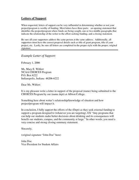 exles of letters of support letter of support exle best letter sle 21617