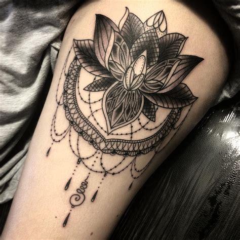 lotus flower tattoos  thigh