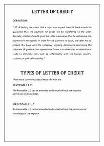 letter of credit report With letter of credit report
