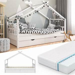 Kinderbett Mit Rausfallschutz 90x200 : vitalispa kinderbett design hausbett mit schubladen real ~ Watch28wear.com Haus und Dekorationen