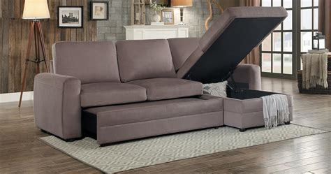 homelegance welty reversible sleeper sectional with hidden