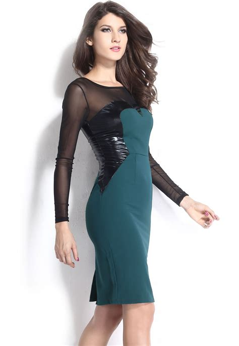 Women Green Midi Dress With Pu And Mesh Inserts Long
