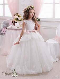 2016 beautiful kids wedding dresses jewel neck appliques With kids wedding dress