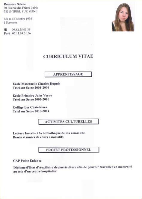 Exemple De Cv étudiant by Exemple De Cv Pour Un Eleve De Terminale Laboite Cv Fr